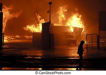 Danger work - Silhouette of firefighter