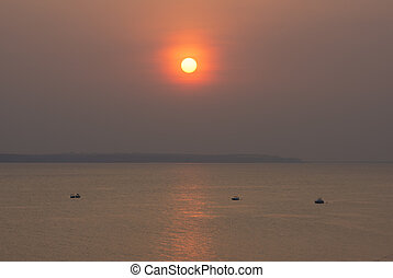 Sunset over the Rio Negro in Amazonas - Vermillion sunset...
