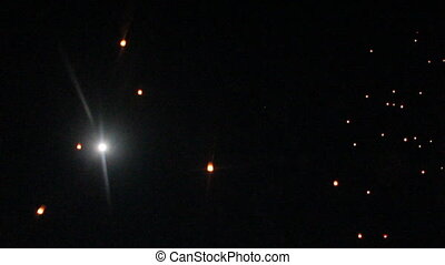 Fire lantern in moon night sky, stock video