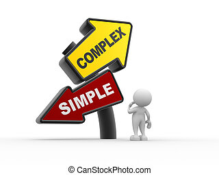 Simple or complex - 3d people - man , person and simple...