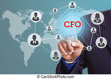 Hand touching for select CFO interface button with your...