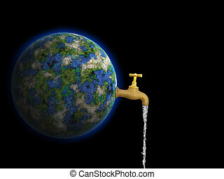 world care - Conceptual image of earth is our water against...