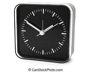 clock - modern black clock against white