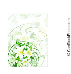 postcard with white lily bouquet - illustration of postcard...
