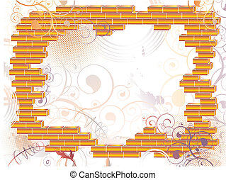 abstract grunge brick frame - illustration of abstract...