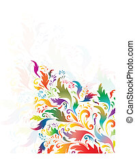 bright multicolored floral abstract decoration -...