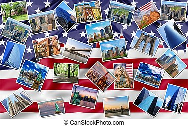 New York landmarks collage - New York city pictures collage...