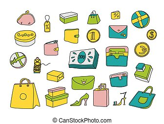Cartoon shopping set in doodle styl