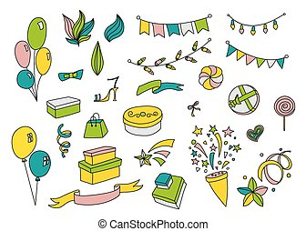 Cartoon party set in doodle style