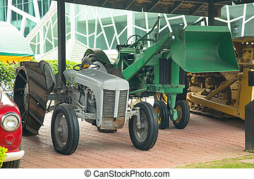 Vintage tractor for agricultural in fram