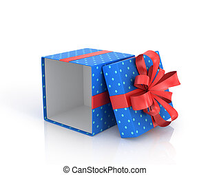 Blue open Gift Box with red ribbon and bow