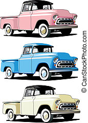 American pickup - Vectorial icon set of American retro...