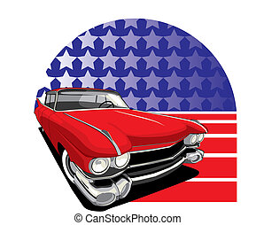 American Style - vectorial image of vintage car on a...