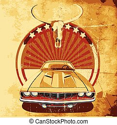 American Style Poster II - old paper background with round...