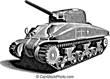 American Tank_engraving - Detailed vectorial image of...