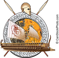 Ancient War - round vignette with ancient ship on a grunge...