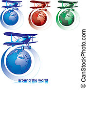 around the world - Vectorial icon set on theme of...