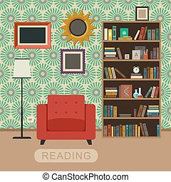 Living room interior. - Interior room with chair and...