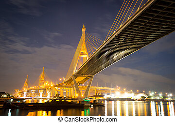 Wonderful Rama nine bridge with twilight time