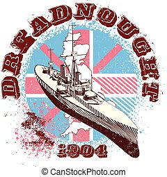 DREADNOUGHT  1904 - Vectorial image of war-ship Dreadnought