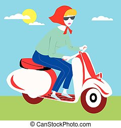 Sweet Girl Scooter vector illustration cartoon motorcycle