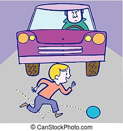 Boy and ball, accident with car. Vector illustration...