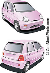 little pink car - vectorial image of little pink car...