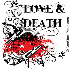 Love and Death - Grunge angular vignette with two guns and...