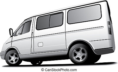 minibus - Detailed monochrome vectorial image of white...