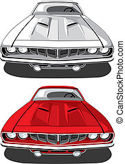 Muscle car_Plymouth \'Cuda - vectorial image of sports car...
