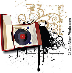 Music as Life II - Grunge vignette with old-fashioned record...