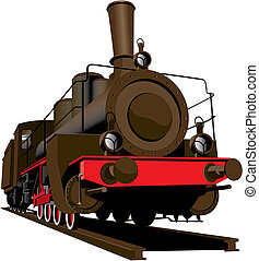 Old steam locomotive - Vectorial image of old steam...