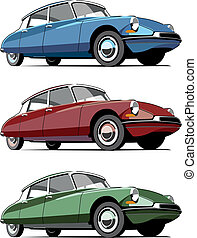 old-fashioned French car - Vectorial icon set of...