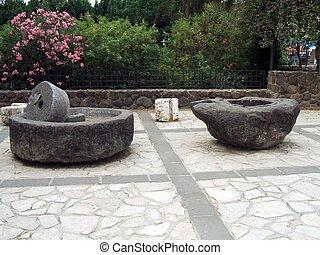 azeitona, romana, Moinho,  Capernaum,  Israel