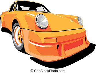 Porshe_orange - Vectorial image of Porsche 911 1973 year