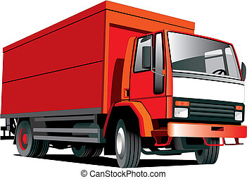 Red truck - Detailed vectorial image of red truck isolated...