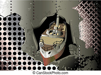 steel background with old cannonboat