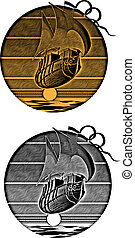 Sunset_engraving - image of flying ship on a background...