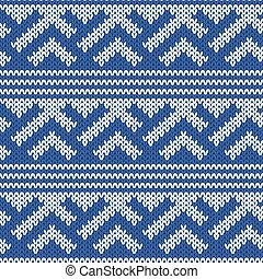 Knitted Seamless Pattern in Retro Style - Abstract blue and...