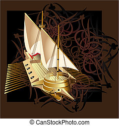 Vector_galley - Vectorial illustration of ship on a...