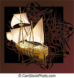 Vector_ship - Vectorial illustration of sailship on a...