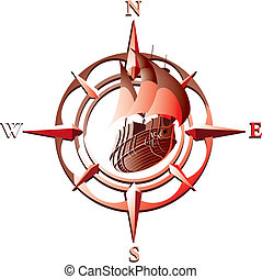 vector_vind rose - Vector illustration of wind rose with...