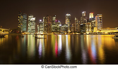 Night panorama of the business district of Singapore.