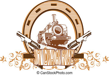 Wild West Vignette - Vectorial image on a theme wild west