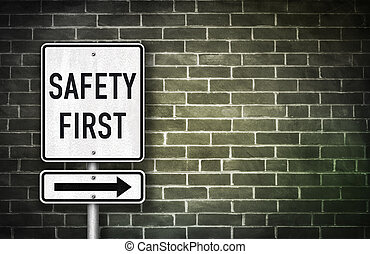 Safety First - road sign illustration