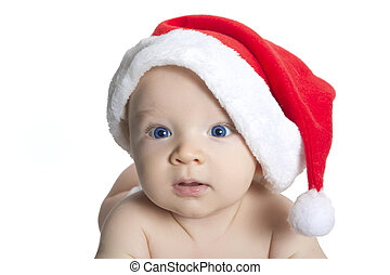 cute baby boy wearing christmas cap