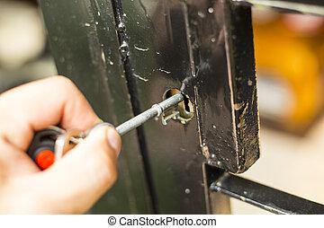 Unlock ,push key unlocked the door to his home