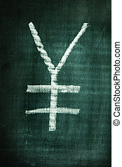yen sign - ? yen sign written with a chalk on a blackboard