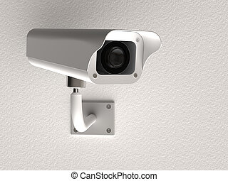 Surveillance camera - 3d rendering of surveillance camera on...