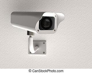 Surveillance camera - 3d rendering of surveillance camera on...